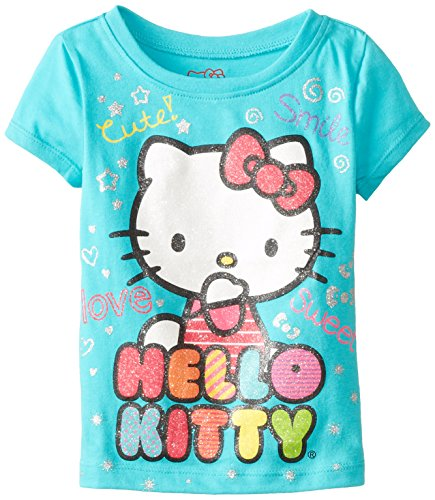 Hello Kitty Little Girls' Fashionable Graphic T-Shirt, Blue Curacao, 3T