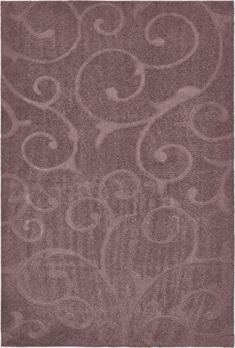 Unique Loom Floral Shag Collection Soft Plush Modern Floral Vines Violet Area Rug 9 0 x 12 0