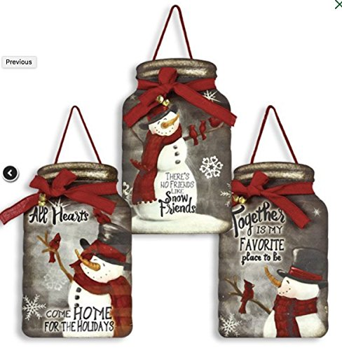 Set of 3 Snowman Mason Jar Shaped Tin Hanging Signs - 15 x 9.25 - Christmas Winter Decor