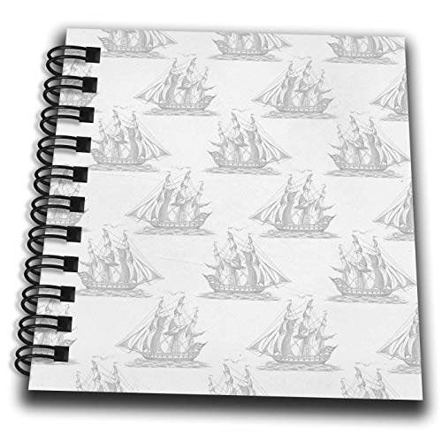 3dRose Anne Marie Baugh - Patterns - Gray Vintage Sailing Ships Pattern - Mini Notepad 4 x 4 inch (db_307908_3)
