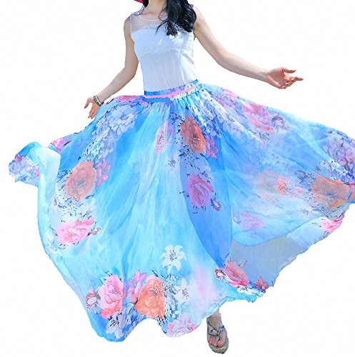(Afibi Women Full/Ankle Length Blending Maxi Chiffon Long Skirt Beach Skirt (XX-Large, Design L(6)))