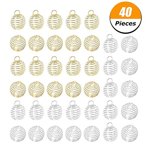 40% Silver Gem - Loving Home 40 Pcs Silver Plated Spiral Bead Cages Pendants Jewelry Making,Size 25mm,30mm Color Silver,Gold