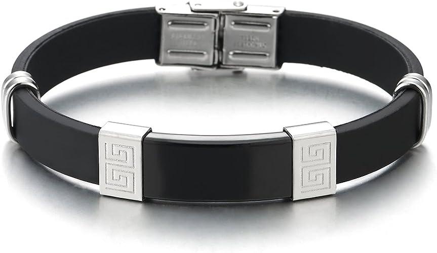 Armband Silikon Edelstahl Herren Schwarz Silber Armreif