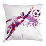 Lunarable Boy's Room Throw Pillow Cushion Cover, Abstract Silhouette Fractal Mosaic Soccer Player Goalkeeper Catching Ball, Decorative Square Accent Pillow Case, 40 X 40 inches, Violet Pink Red