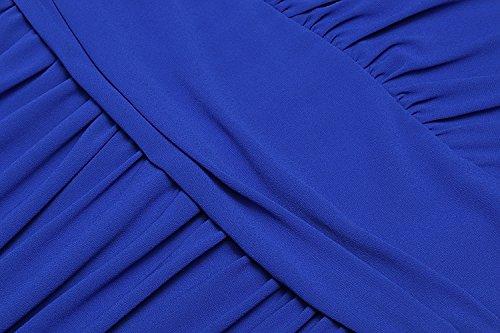 Angvns Robe En Mousseline De Soie Sans Manches Taille Froncée À Double Encolure En V Bleu Long Robe De Soirée