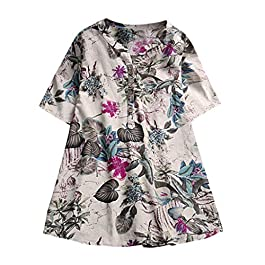 Clearance! Womens Vintage Button Boho Floral Print Blouse, Casual Loose Plus Size Linen Long Tunic Tops Shirt M-5XL