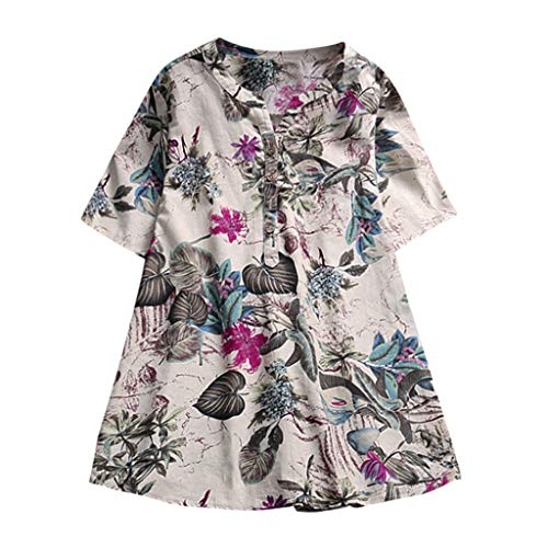 Summer Plus Size Tops Tronet Womens Button Vintage Boho Floral Loose Cotton Linen t-Shirt Casual Blouse Tops