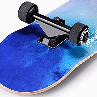 FLYSXP Scooter Maple Long Board Brush Street Dance Board Four Wheels Double Skateboard Beginner Teen Boy Girl Professional Skateboard (with Flash Wheel) Skateboard (Color : C): Home & Kitchen