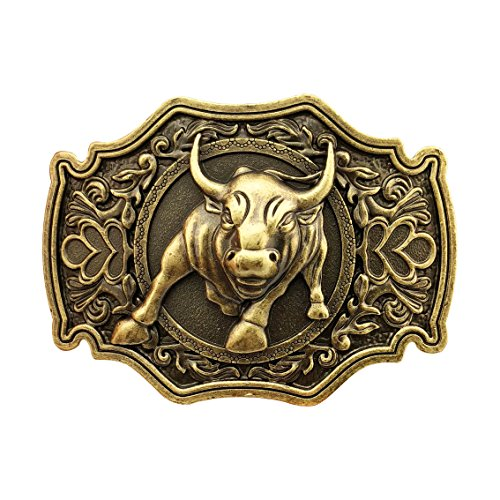 QUKE American Western Cowboy Long Horn Rodeo Bull Belt Buckle Bronze Color