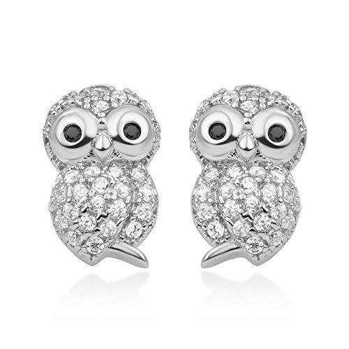 925 Sterling Silver White CZ Cute Little Owl Birds Post Stud Earrings 11 mm Women Jewelry