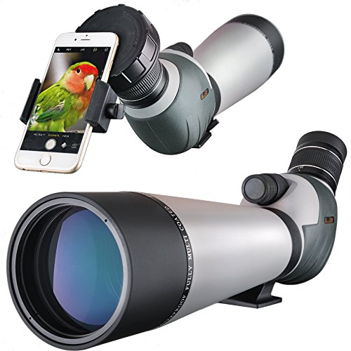 Landove Dual Focusing Zoom 20-60x80 Spotting Scope Macro and Micro Adjustable Focus Water Proof Spotter Scope with Fully Metal Tripod and Smartphone Mount