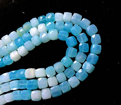 AAA QUALITY BLUE OPAL FACETED CUBE BEADS, BLUE OPAL BRIOLETTES BEADS, OPAL LOOSE ()
