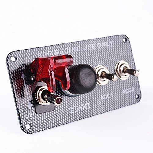 KDL Ignition Switch Panel DC12V LED Carbon Fibre Toggle Engine Start Push Button 12V Power Toggle Switch for Car Truck Racing