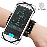 Eximone Elastic Flexible Wristband with 180° Rotatable Silicone Phone Holder Slim Lightweight Anti-Slip Sweatproof Sports Workout Running for Apple iPhone Android Smartphone (Black)