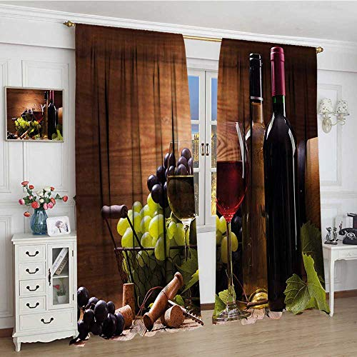 (smallbeefly Wine Blackout Window Curtain Glasses of Red and White Wine Served with Grapes French Gourmet Tasting Customized Curtains 72