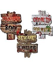 Lobyoh Halloween outdoor decoratie, tuinbordjes, met stangen, straatbord voor Halloween, tuin, gazon, huis