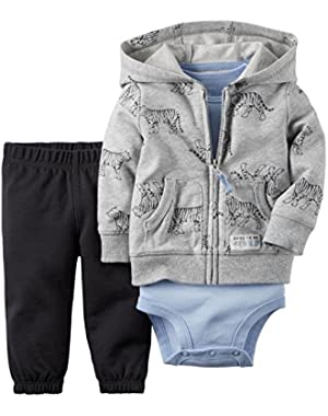 Carter's Baby Boys 3-Piece Short-Sleeve Safari Bodysuit, Tiger, 9 Months