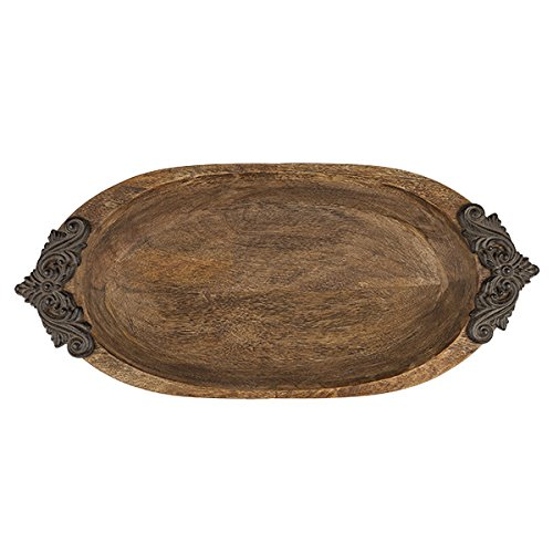 Acanthus Oval Wood Serving Bowl