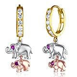 Wellingsale Ladies 14k Tri 3 Color Gold Polished Fancy Huggies Dangle Hanging Drop Elephant Earrings (10 X 30mm)