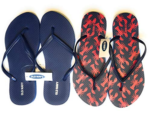 OLD NAVY Flip Flop Sandals for Woman, Great for Beach or Casual Wear (7, lobster and dark blue) -