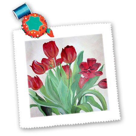 qs_55580_5 Taiche - Acrylic Painting - Tulips - Bunch of Red Tulips - bunch of flowers, bunch of tulips, bouquet of flowers, bouquet of tulips - Quilt Squares - 14x14 inch quilt square