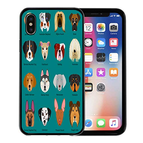 - Semtomn Phone Case for Apple iPhone Xs case,Blue Retriever Dog Faces Breeds Name Colorful Golden Shepherd Afghan for iPhone X Case,Rubber Border Protective Case,Black