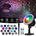 Zeonetak Water Wave Night Light Projector, Colorful Automatically Moving Waterproof LED Projector Lamp Remote Control Timer Sleep Soothing Baby Room Holiday Projector for Home Party Wedding Decoration