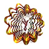 "Shipityourway 12"" 3D Wind Spinner Crimson Hummingbird & Flowers Powder Coated Metal Yard Art Lawn Garden Twister & Swivel Hook"