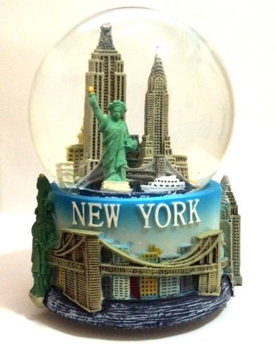 Large Musical Snowglobe - LARGE 100mm Musical New York City Snow Globe COLOR BASE SKYLINE STATUE LIBERTY