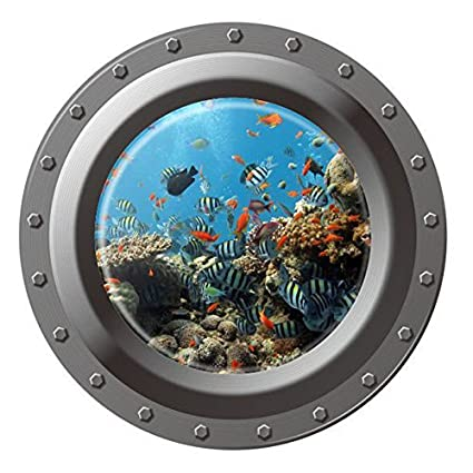 "Dnven (17""w X 17""h) Porthole Peel and Stick Window View Under the Sea Tropical Fishes 3d Window View Wall Arts Decals Decors Removable Stickers Undersea World"