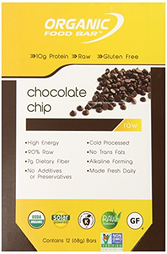 Organic Food Bar – Chocolate Chip, Certfied Organic Vegan Protein Bars Pack of 12, 2.4 oz