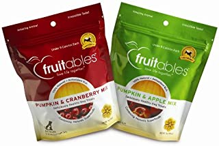 product image for Fruitables Pumpkin & Apple/Pumpkin & Cranberry, Crunchy Baked Dog Treats, Combo Pack, 2 7-Ounce Pouches