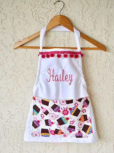 Girls personalized apron, cupcake pocket includes name sizes 18 months through Girls 10-12 Chef Hat option! ()