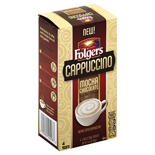 Folgers Mocha Chocolate Flavored Cappuccino Mix Packets, .85 Ounce, 4 Packets