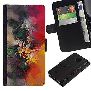 Paccase / Billetera de Cuero Caso del tirón Titular de la tarjeta Carcasa Funda para - painting watercolor painter nature brush - Samsung Galaxy S5 Mini, SM-G800, NOT S5 REGULAR!