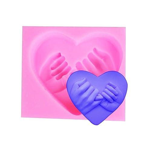 1 molde de silicona 3D para jabón con forma de corazón, amor de mano,
