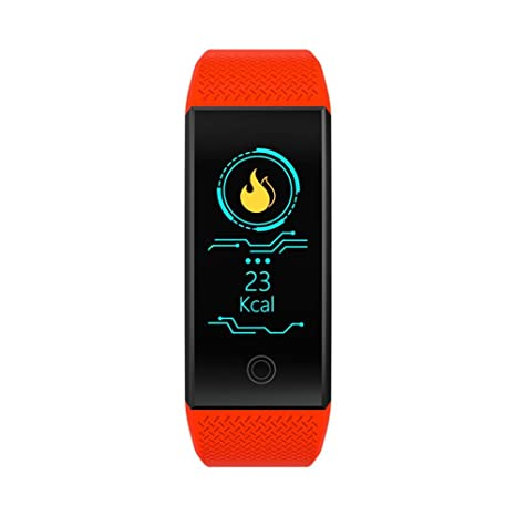 Huang Dog qw18 Fitness Tracker Smart Reloj de Pulsera con Podómetro con Pulsómetro Tensiómetro, Resistente
