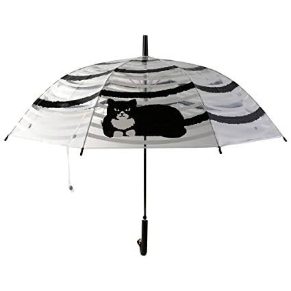 ZHUSAN Paraguas, Transparente Gato Negro Adulto Semiautomático Skid Mango Largo Paraguas