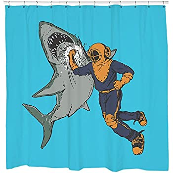 Sharp Shirter Cool Diver Punching Shark Shower Curtain Funny Retro Nautical Decor Waterproof Blue Fabric Hooks Included