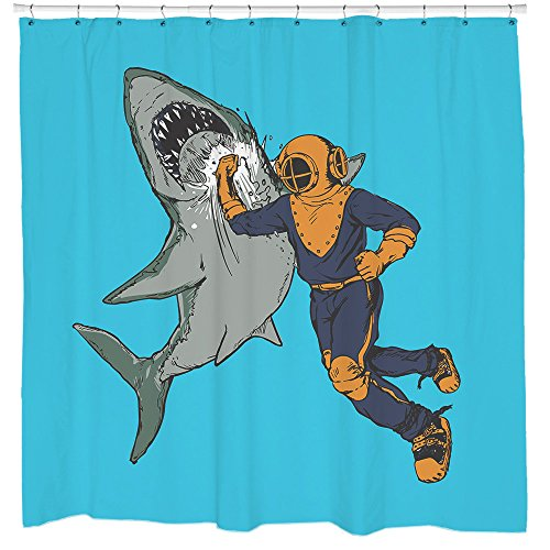 Diver Punching Shark Shower Curtain Nautical Bathroom Decor Waterproof 12 Hooks Included (Curtain Shark Hooks Shower)