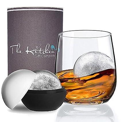 Vaso de cristal de whisky y molde de bola de hielo de regalo – El