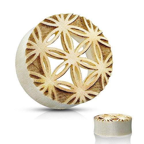 - Pair of Flower of Life Cut Crocodile Wood Ear Tunnels Plugs Organic Gauges (3/4 Inch-19mm)