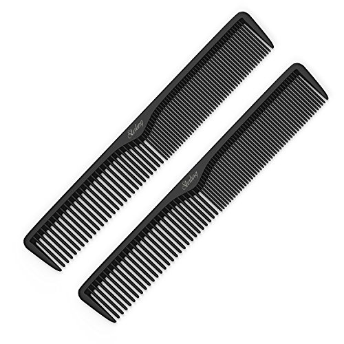"Styling Comb (2 Pack) - Professional 7"" Black Carbon Fiber Anti Static Chemical And Heat Resistant Combs For All Hair Types - By Sterling Beauty - Professional Black Comb"