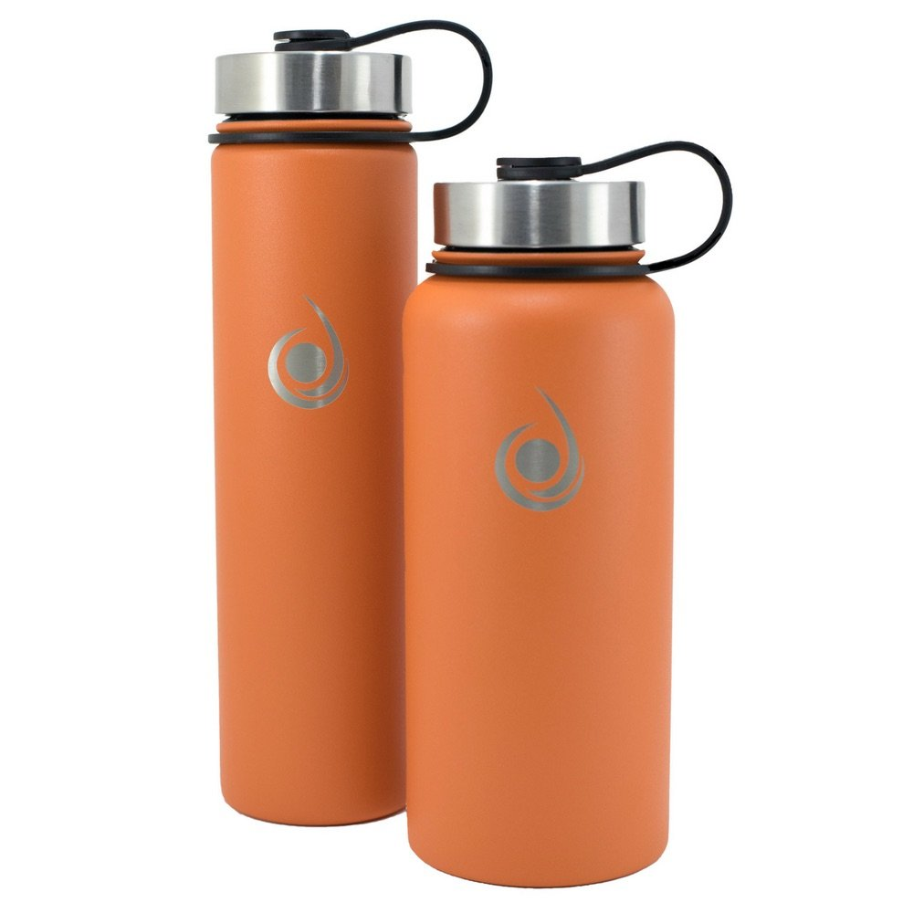 Rugged Hydration 32oz or 24oz Double Wall Vacuum Insulated Stainless Steel Water Bottle + 3 Lids Built-in Carabiner E-Book Multiple Colors Powder Coated Cold 24 Hrs Leak Proof Sweat Proof