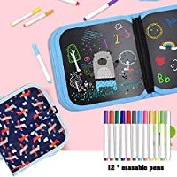 Here Fashion Portable Erasable Drawing Board for Kids, Double Sided Reusable Sketchpad Painting Book with 12 Colored Erasable Pens, 8×8 inches 14Page - Airplane