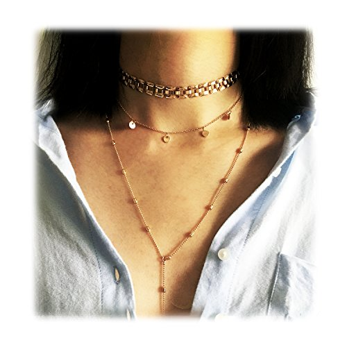 Women 2 Layers Gold Plated Coins Disc Necklace Gold - 5