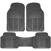 OxGord Universal Fit 3-Piece Full Set Ridged Heavy Duty Rubber Floor Mat - (Gray)