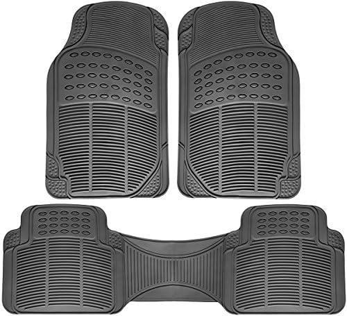 OxGord Ridged All-Weather Rubber Floor-Mats – Waterproof Protector for Spills, Dog, Pets, Car, SUV, Minivan, Truck – 3-Piece Set, Gray