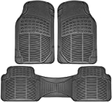 Automotive : OxGord Universal Fit 3-Piece Full Set Ridged Heavy Duty Rubber Floor Mat - (Gray)