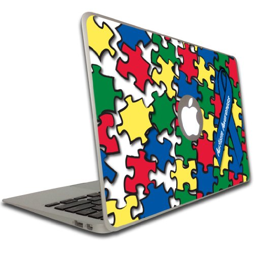 VictoryStore Electronic Device Vinyl Skin Cover - Autism Awareness, Puzzle and Awareness Ribbon Removable Skin for a Macbook Air, Size 11 Inches ()